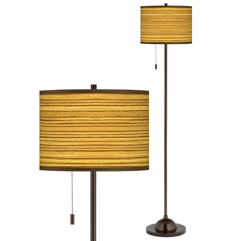Tawny Zebrawood Giclee Glow Bronze Club Floor Lamp