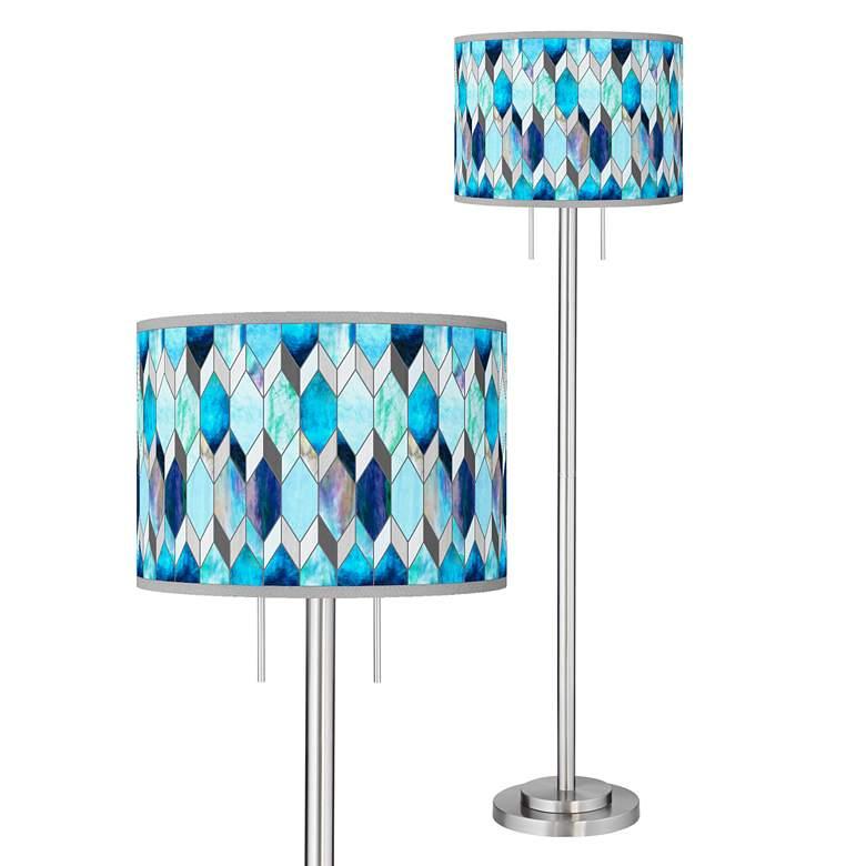Blue Tiffany-Style Giclee Brushed Nickel Garth Floor Lamp