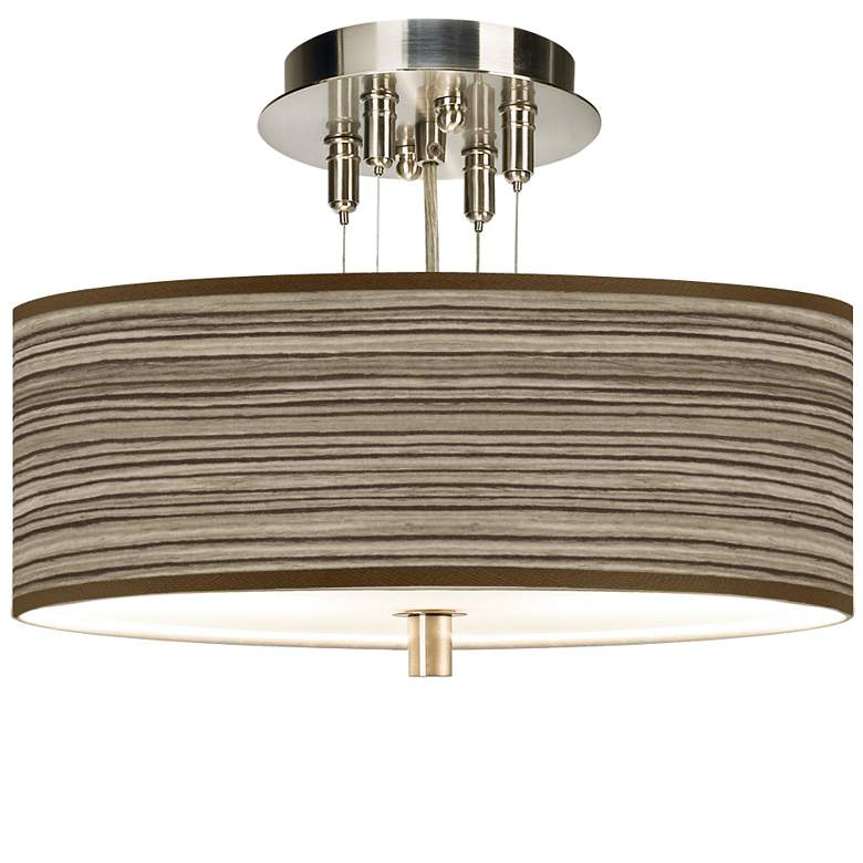 "Cedar Zebrawood Giclee 14"" Wide Ceiling Light"