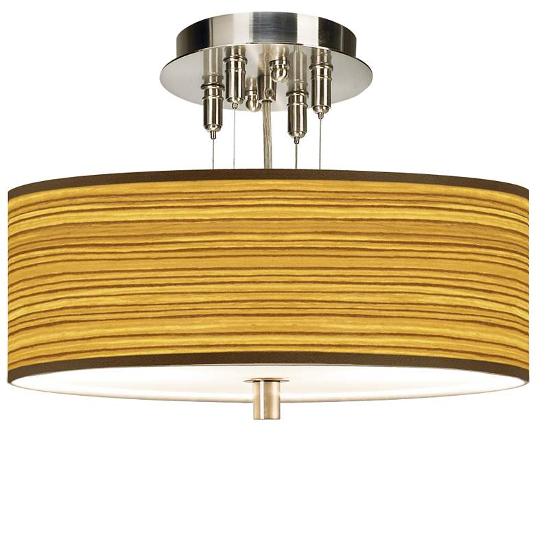 """Tawny Zebrawood Giclee 14"""" Wide Ceiling Light"""