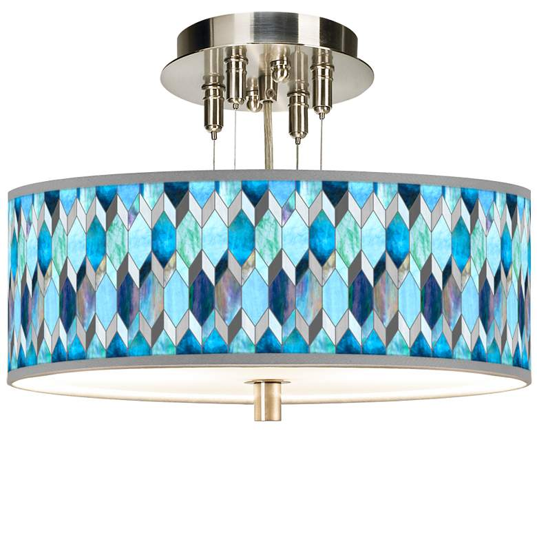 "Blue Tiffany-Style Giclee 14"" Wide Ceiling Light"