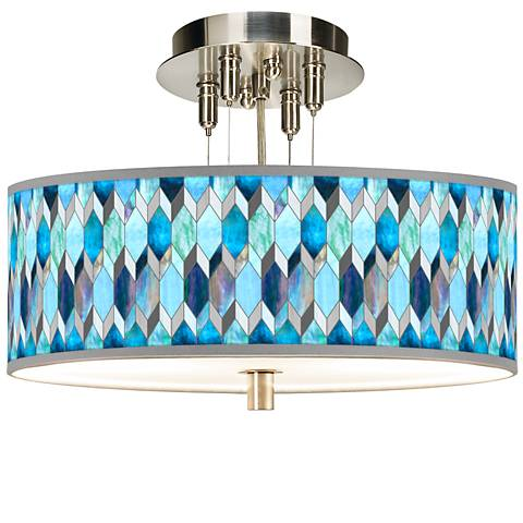 """Blue Tiffany-Style Giclee 14"""" Wide Ceiling Light"""