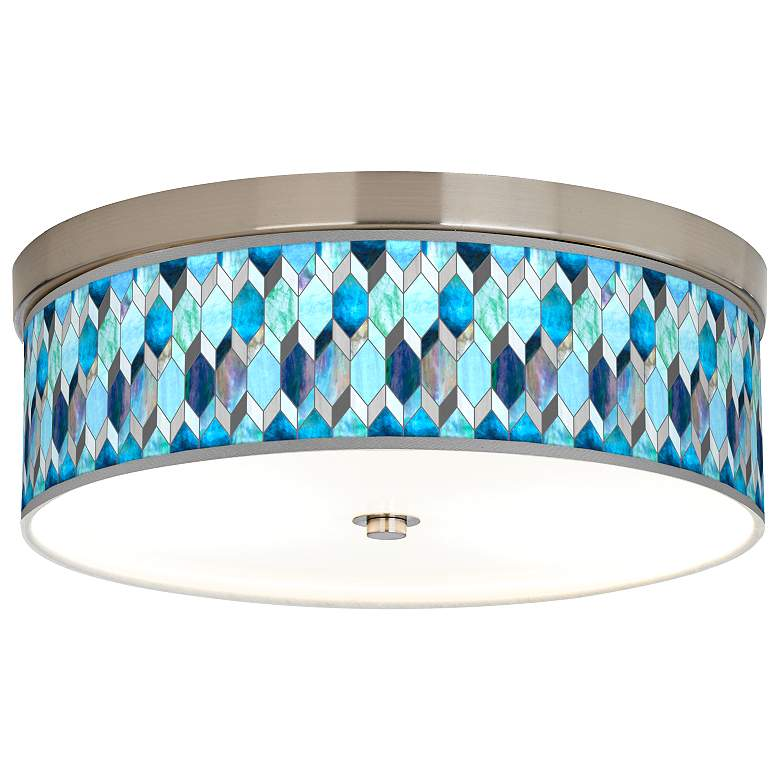 Blue Tiffany-Style Giclee Energy Efficient Ceiling Light
