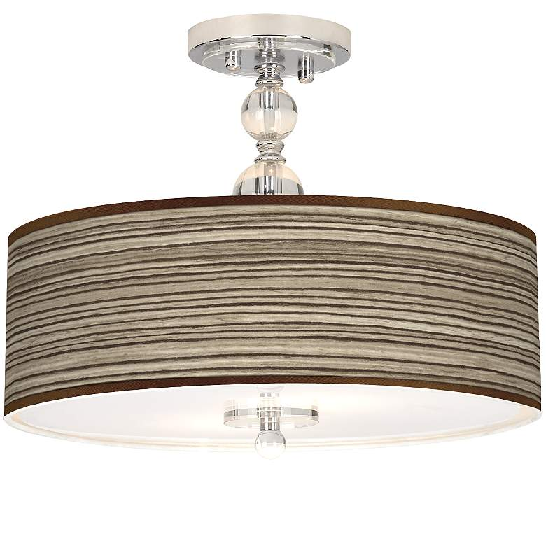 "Cedar Zebrawood Giclee 16"" Wide Semi-Flush Ceiling Light"