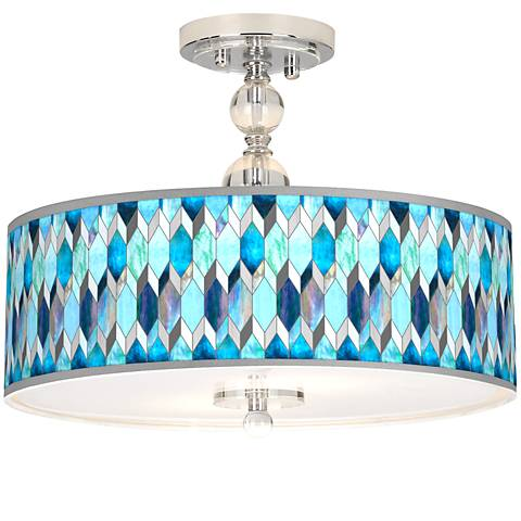 "Blue Tiffany-Style Giclee 16"" Wide Semi-Flush Ceiling Light"