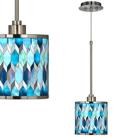 Blue Tiffany-Style Giclee Glow Mini Pendant Light