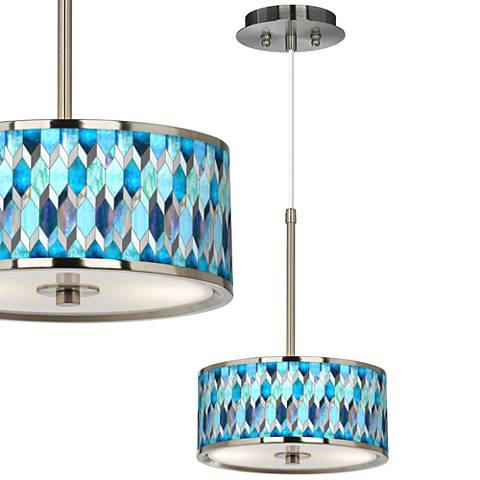 "Blue Tiffany-Style Giclee Glow 10 1/4"" Wide Pendant Light"
