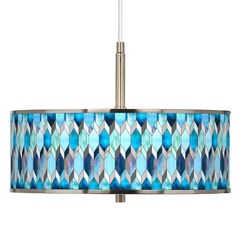 "Blue Tiffany-Style Giclee Glow 16"" Wide Pendant Light"