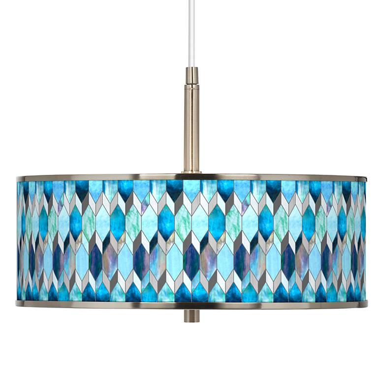 "Blue Tiffany-Style Giclee Glow 16"" Wide Pendant Light"