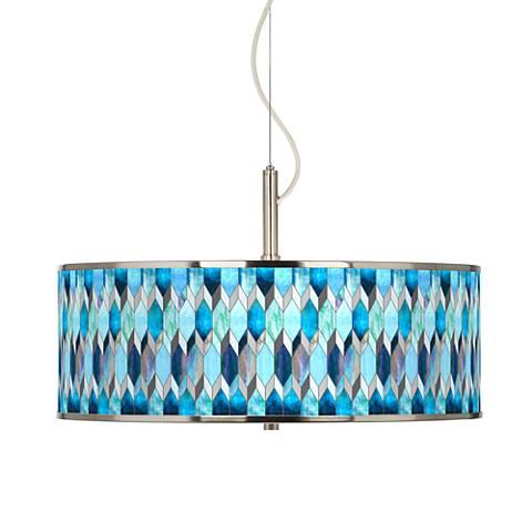 "Blue Tiffany-Style Giclee Glow 20"" Wide Pendant Light"