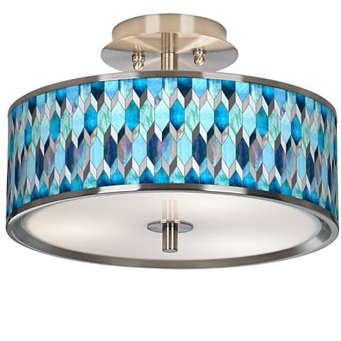 """Blue Tiffany-Style Giclee Glow 14"""" Wide Ceiling Light"""