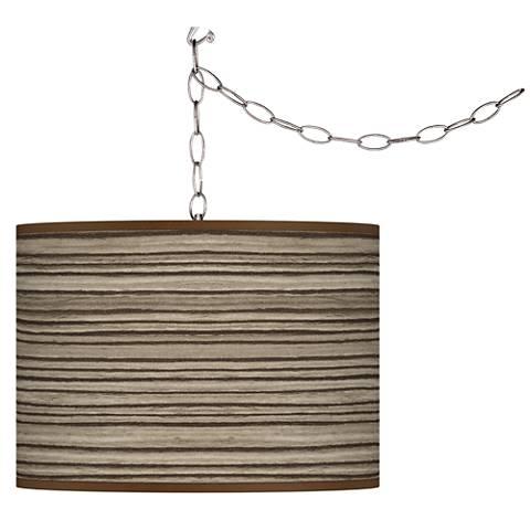 Cedar Zebrawood Giclee Glow Plug-In Swag Pendant