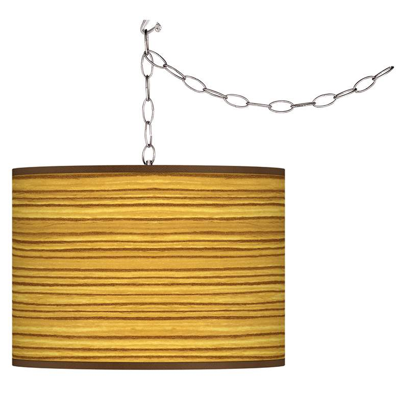 Tawny Zebrawood Giclee Glow Plug-In Swag Pendant