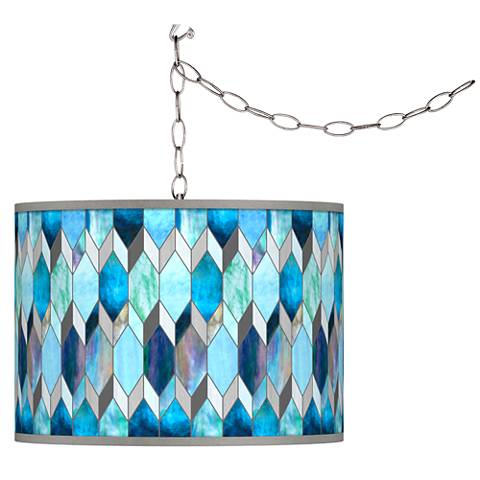Blue Tiffany-Style Giclee Glow Plug-In Swag Pendant