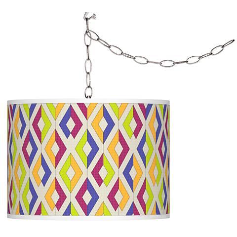 Chromatic Diamonds Giclee Glow Plug-In Swag Pendant