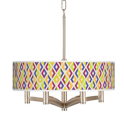 Chromatic Diamonds Ava 6-Light Nickel Pendant Chandelier