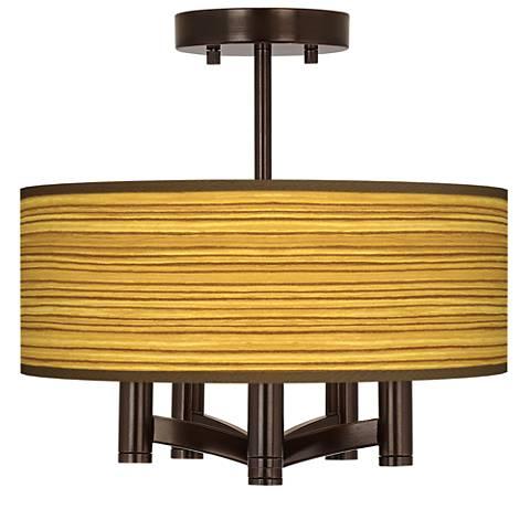 Tawny Zebrawood Ava 5-Light Bronze Ceiling Light