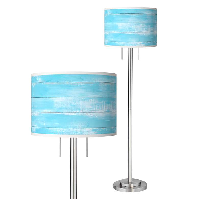 Barnyard Blue Giclee Brushed Nickel Garth Floor Lamp