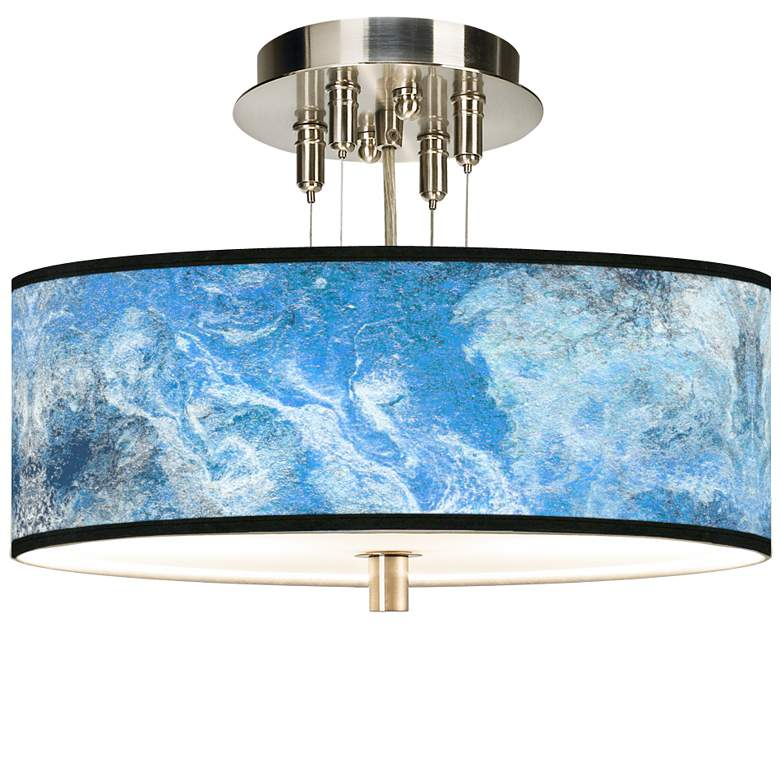 "Ultrablue Giclee 14"" Wide Ceiling Light"