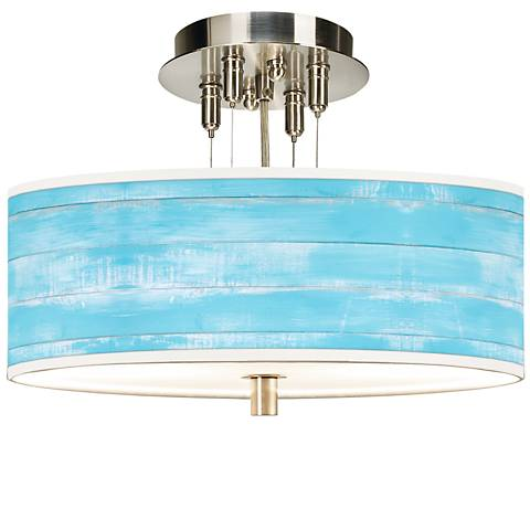 "Barnyard Blue Giclee 14"" Wide Ceiling Light"