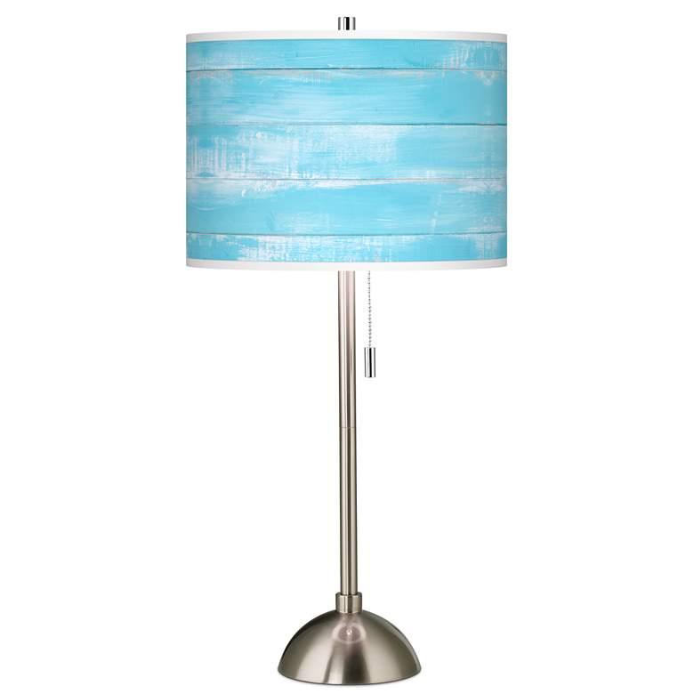 Barnyard Blue Giclee Brushed Nickel Table Lamp