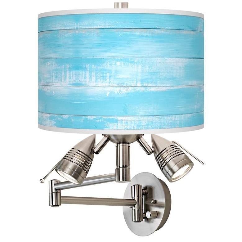 Barnyard Blue Giclee Plug-In Swing Arm Wall Lamp