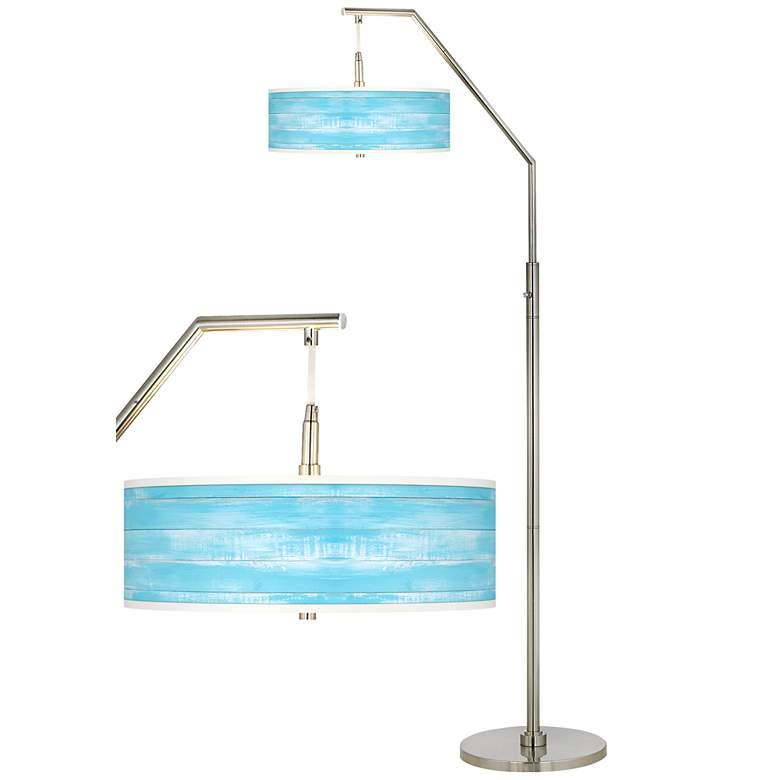 Barnyard Blue Giclee Shade Arc Floor Lamp