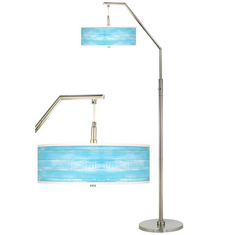 Barnyard Blue Giclee Shade Arc Floor Lamp