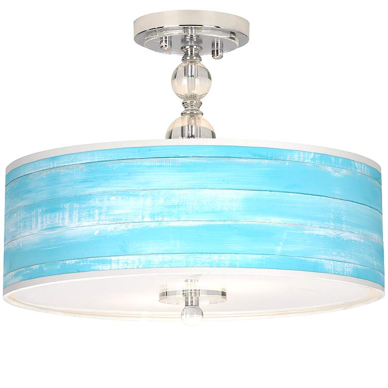 "Barnyard Blue Giclee 16"" Wide Semi-Flush Ceiling Light"