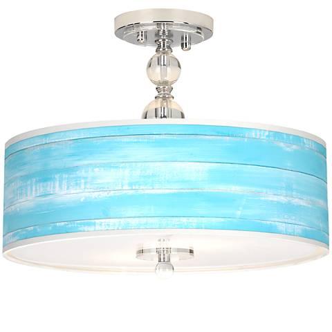 "Barnyard Blue Giclee 16"" Wide Semi-Flush Ceiling Light"