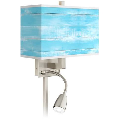 Barnyard Blue Giclee Glow LED Reading Light Plug-In Sconce
