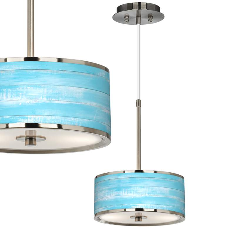 "Barnyard Blue Giclee Glow 10 1/4"" Wide Pendant Light"