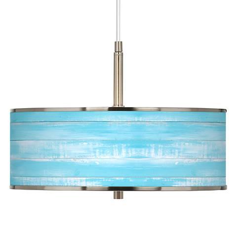 "Barnyard Blue Giclee Glow 16"" Wide Pendant Light"