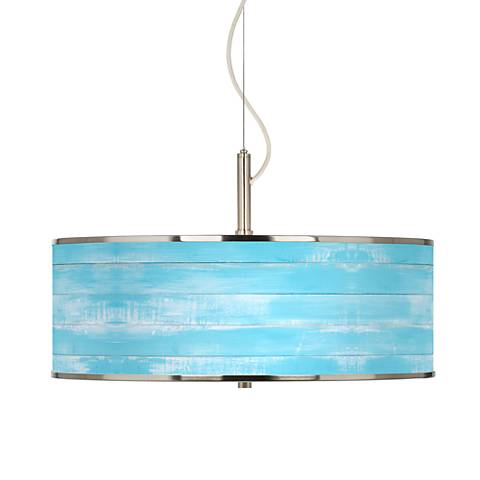 "Barnyard Blue Giclee Glow 20"" Wide Pendant Light"