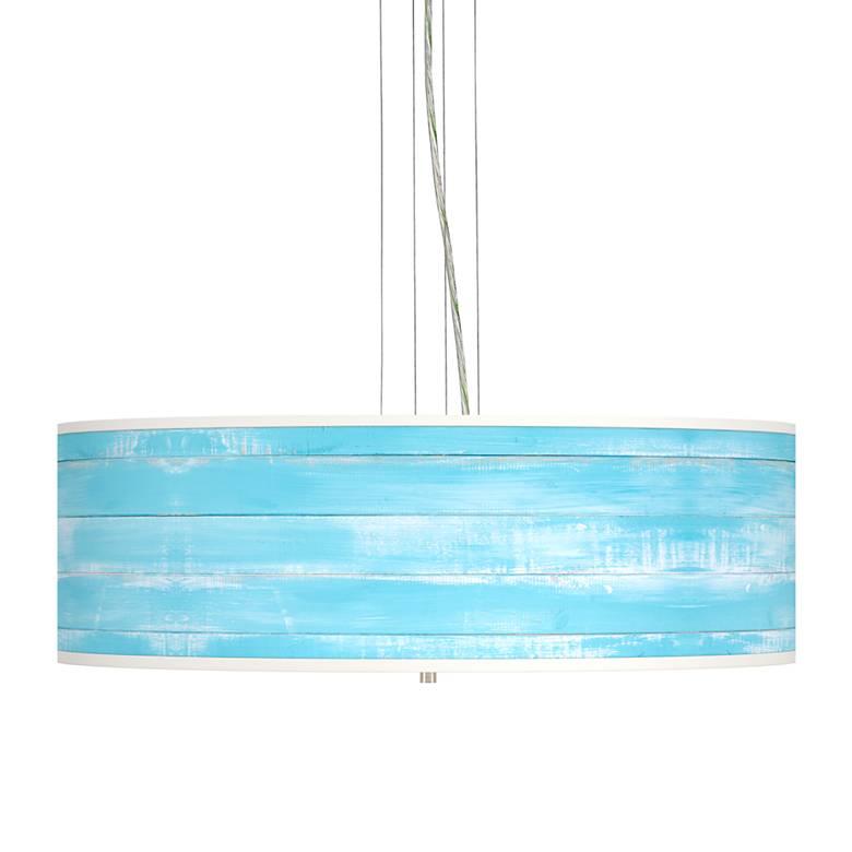 "Barnyard Blue Giclee 24"" Wide 4-Light Pendant Chandelier"