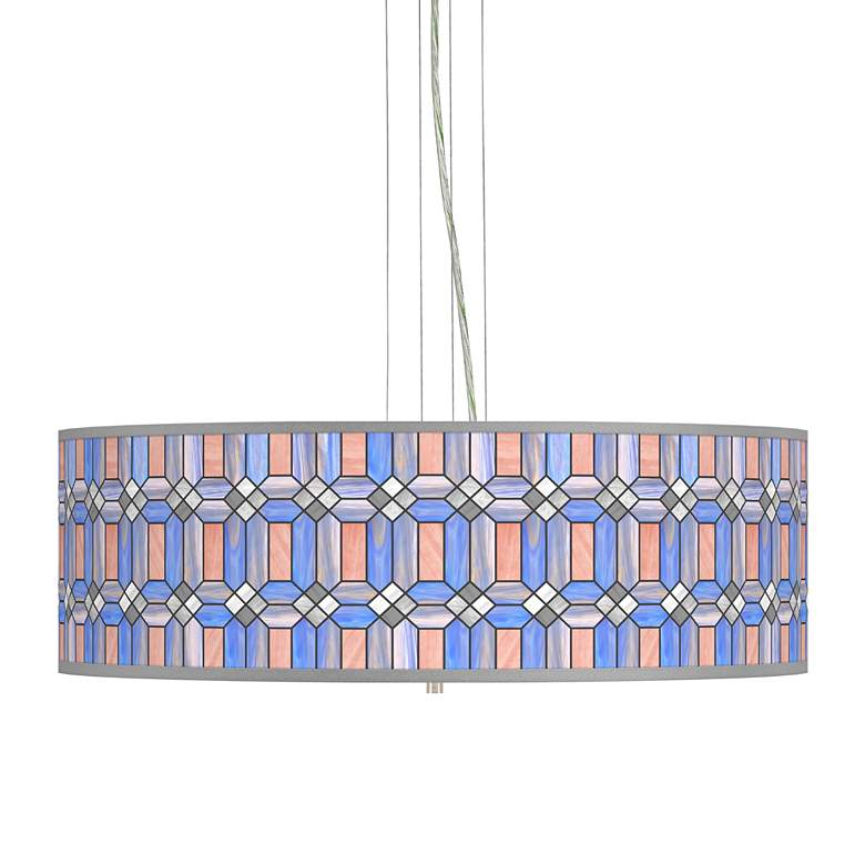 "Asscher Tiffany-Style Giclee 24""W 4-Light Pendant Chandelier"