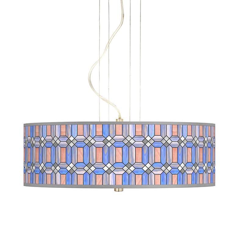 "Asscher Tiffany-Style 20"" Wide 3-Light Pendant Chandelier"