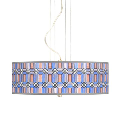 "Asscher Tiffany-Style 20"" Wide 3-Light Pendant Chandelier"