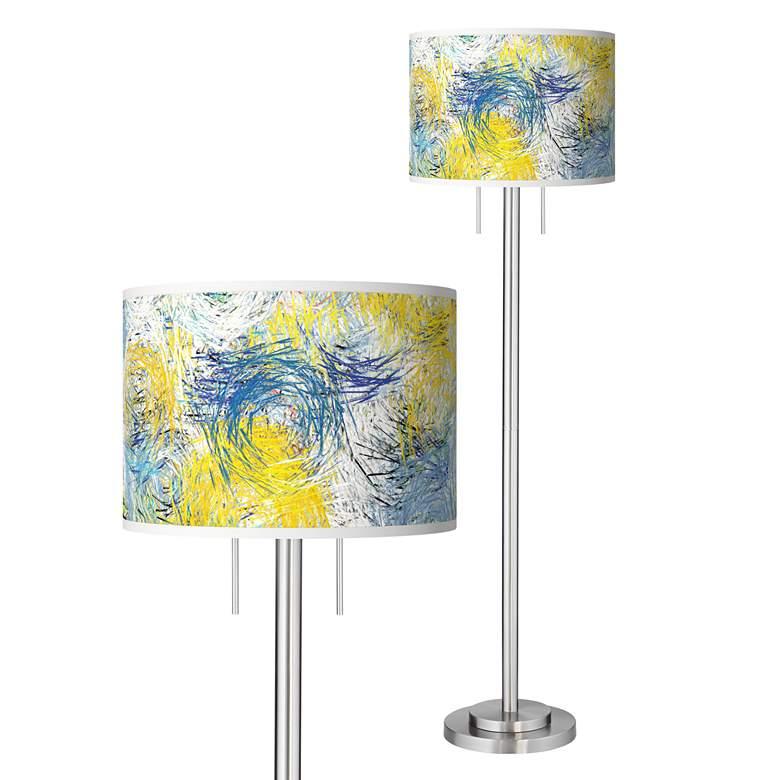 Starry Dawn Giclee Brushed Nickel Garth Floor Lamp