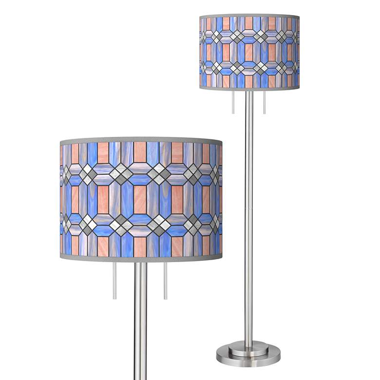Asscher Tiffany-Style Giclee Brushed Nickel Garth Floor Lamp