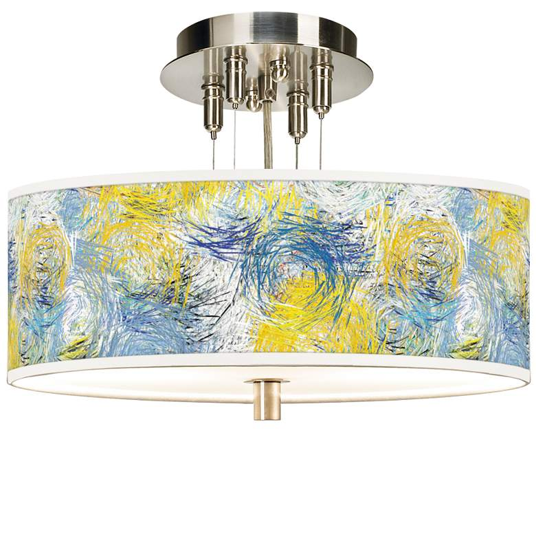 """Starry Dawn Giclee 14"""" Wide Ceiling Light"""