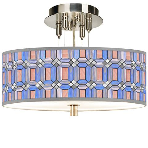 "Asscher Tiffany-Style Giclee 14"" Wide Ceiling Light"