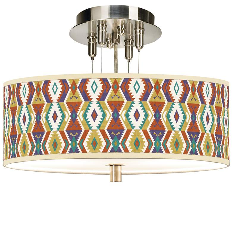 """Southwest Giclee 14"""" Wide Ceiling Light"""