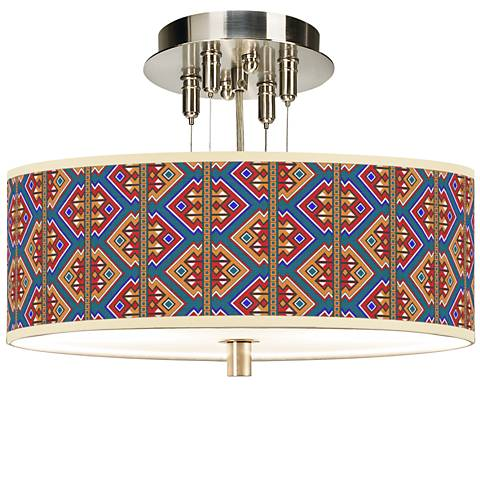 "Rich Bohemian Giclee 14"" Wide Ceiling Light"