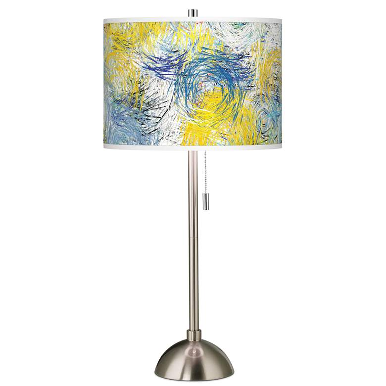 Starry Dawn Giclee Brushed Nickel Table Lamp