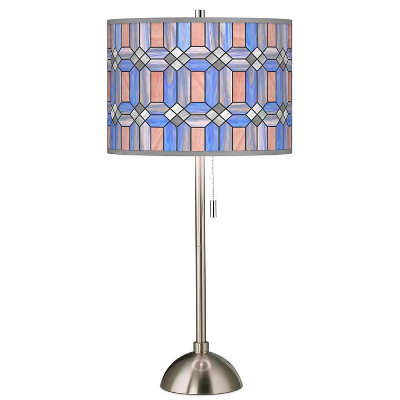 Asscher Tiffany-Style Giclee Brushed Nickel Table Lamp