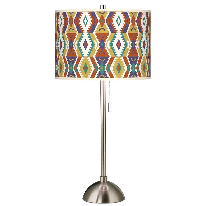 Southwest Bohemian Giclee Brushed Nickel Table Lamp