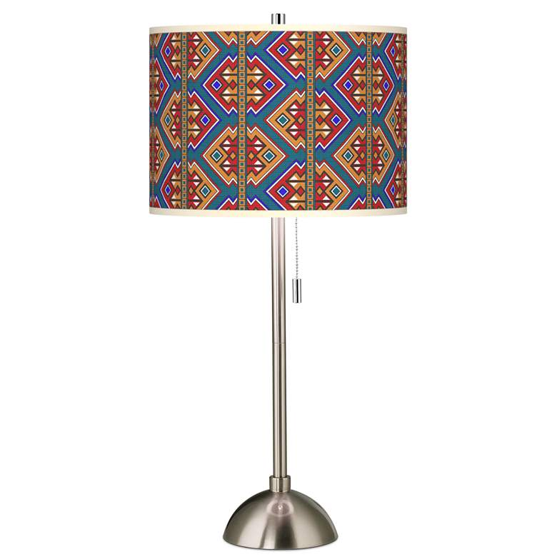 Rich Bohemian Giclee Brushed Nickel Table Lamp