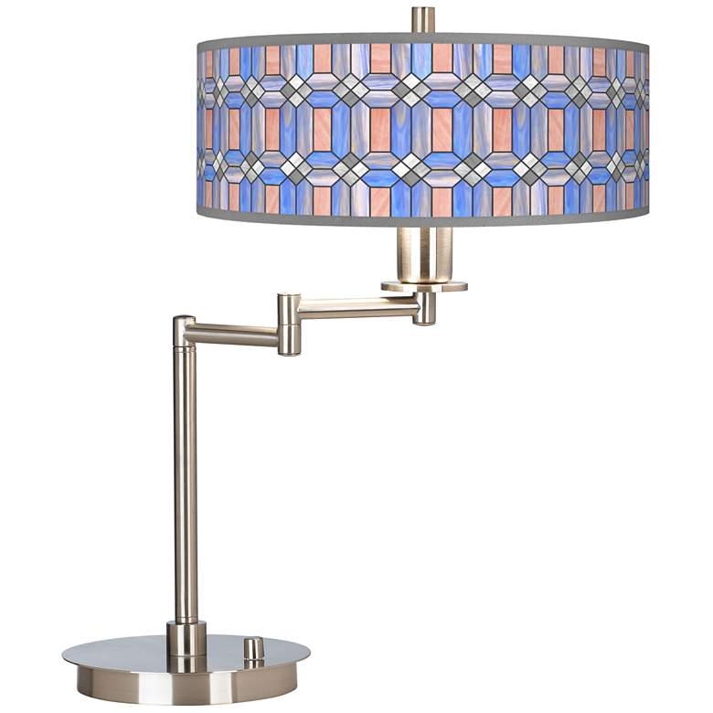 Asscher Tiffany-Style Giclee CFL Swing Arm Desk Lamp