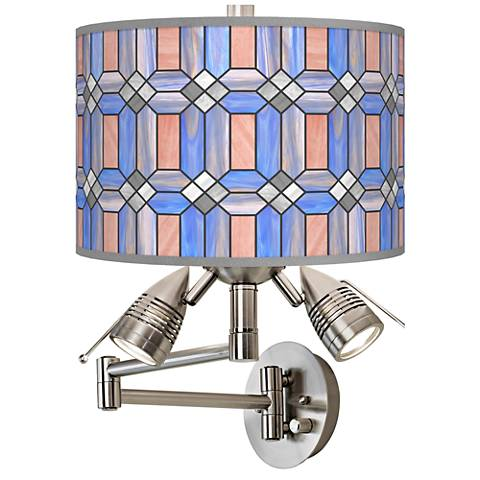 Asscher Tiffany-Style Giclee Swing Arm Wall Lamp